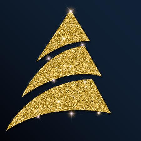 Golden glitter gorgeous christmas tree. Luxurious christmas design element, vector illustration. Illustration