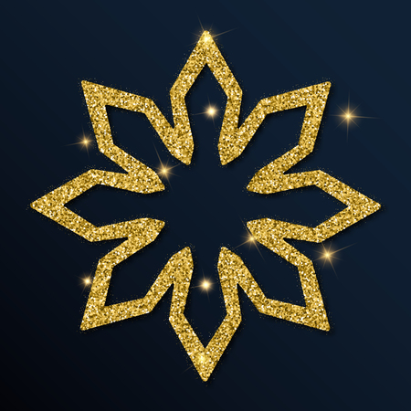 Golden glitter ideal snowflake. Luxurious christmas design element, vector illustration.