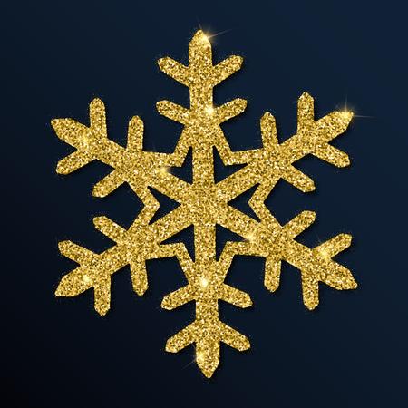 Golden glitter gorgeous snowflake. Luxurious christmas design element vector illustration.