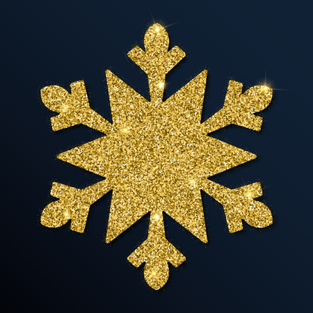 Golden glitter radiant snowflake. Luxurious Christmas design element, vector illustration.