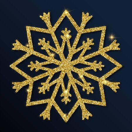 Golden glitter snowflake christmas design element on black background.