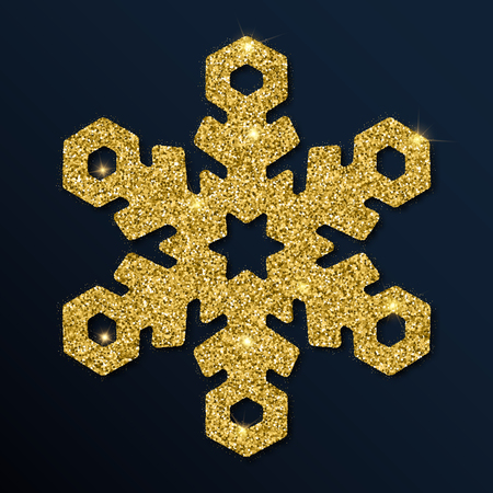 Golden glitter wonderful snowflake. Luxurious christmas design element, vector illustration. Ilustração