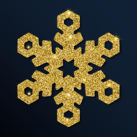 Golden glitter wonderful snowflake. Luxurious christmas design element, vector illustration. Stock Illustratie