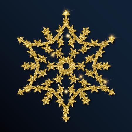 Golden glitter interesting snowflake. Luxurious christmas design element, vector illustration. Фото со стока - 91369352