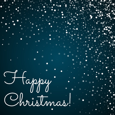 Happy Christmas greeting card. Random falling white dots background. Random falling white dots on blue background.unique vector illustration.