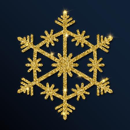 Golden glitter pleasant snowflake. Luxurious christmas design element, vector illustration. Ilustração