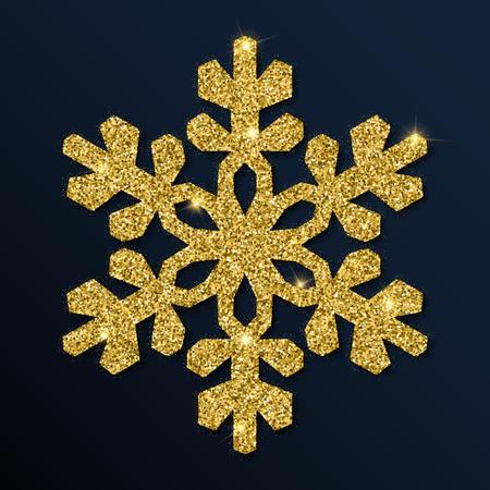 Golden glitter elegant snowflake. Luxurious christmas design element, vector illustration. Illustration