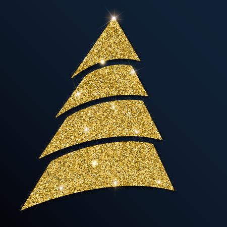 Golden glitter good-looking christmas tree. Luxurious christmas design element, vector illustration.