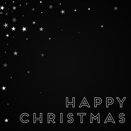 Happy Christmas greeting card. Random falling stars background. Random falling stars on black background. Delightful vector illustration.