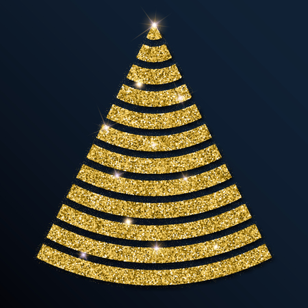 Golden glitter magnificent christmas tree. Luxurious christmas design element, vector illustration. Иллюстрация