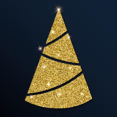 Golden glitter fine Christmas tree. Luxurious Christmas design element, vector illustration.