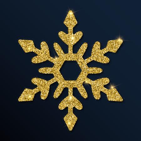 Golden glitter fetching snowflake. Luxurious christmas design element, vector illustration.