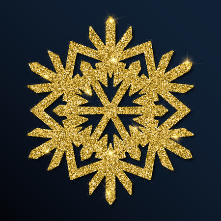 Golden glitter charming snowflake.