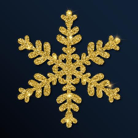 Golden glitter fascinating snowflake.