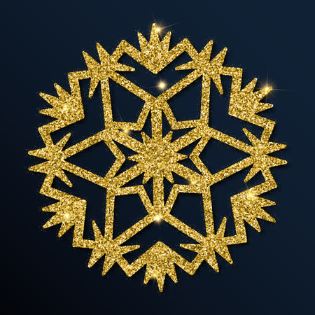 Golden glitter graceful snowflake. Illustration