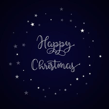 Happy Christmas greeting card. Random falling stars background. Random falling stars on deep blue background.great vector illustration.