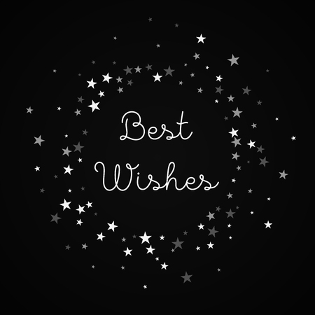 Best Wishes greeting card. Random falling stars background. Random falling stars on black background.fine vector illustration.