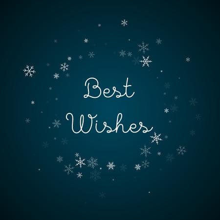 Best Wishes greeting card. Sparse snowfall background. Sparse snowfall on blue background.fine vector illustration. Illustration