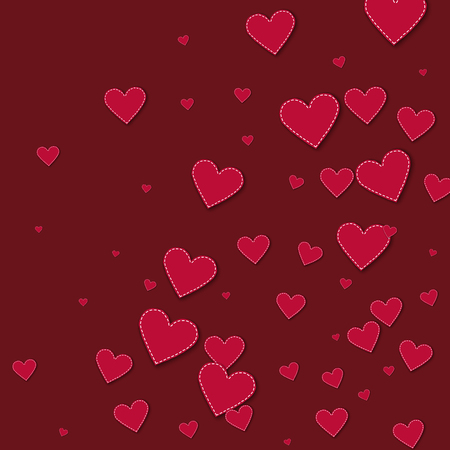 Red stitched paper hearts. Abstract random scatter on wine red background. Vector illustration.