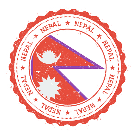 Grunge rubber stamp with Nepal flag.
