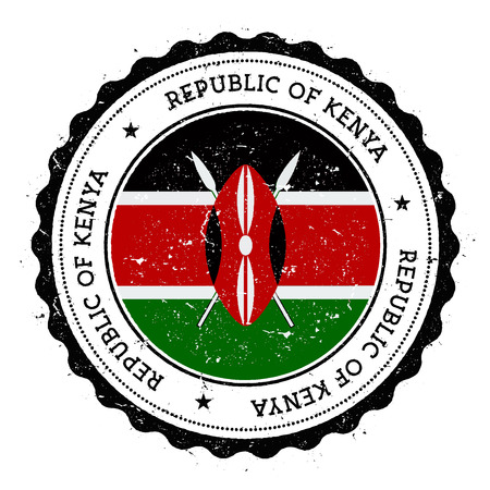 Grunge rubber stamp with Kenya flag. Фото со стока - 92019067
