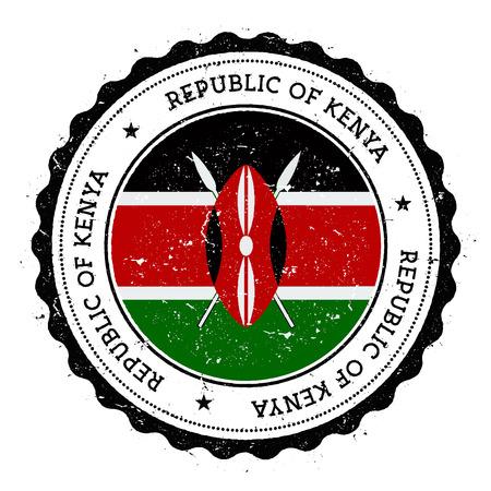 Grunge rubber stamp with Kenya flag.