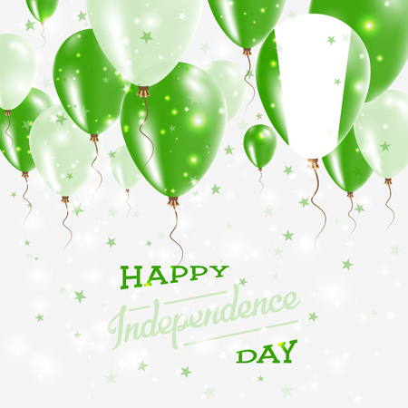 Independence day placard with bright colorful balloons. Banco de Imagens - 92019307