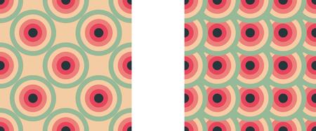 동그라미 원활한 패턴 핑크, 레드, 그린 및 블랙 컬러의 동심원 추상적 인 배경. 다채로운 밝은 벡터 배경.