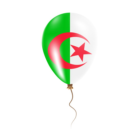 Algeria balloon with flag. Bright Air Ballon in the Country National Colors. Country Flag Rubber Balloon. Vector Illustration.