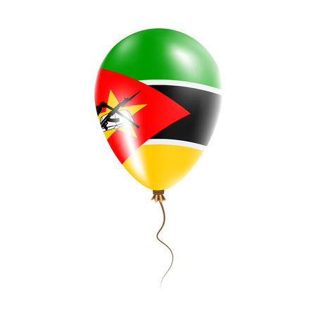 Mozambique balloon with flag. Bright Air Ballon in the Country National Colors. Country Flag Rubber Balloon. Vector Illustration. Illustration