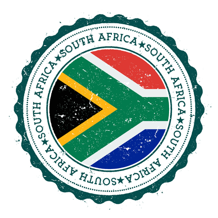 Grunge rubber stamp with South Africa flag. Vintage travel stamp with circular text, stars and national flag inside it. Vector illustration.  イラスト・ベクター素材