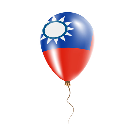 Taiwan, Republic Of China balloon with flag. Bright Air Ballon in the Country National Colors. Country Flag Rubber Balloon. Vector Illustration. Illustration