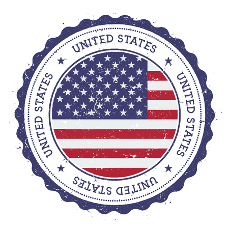 Grunge rubber stamp with United States flag. Vintage travel stamp with circular text, stars and national flag inside it. Vector illustration.