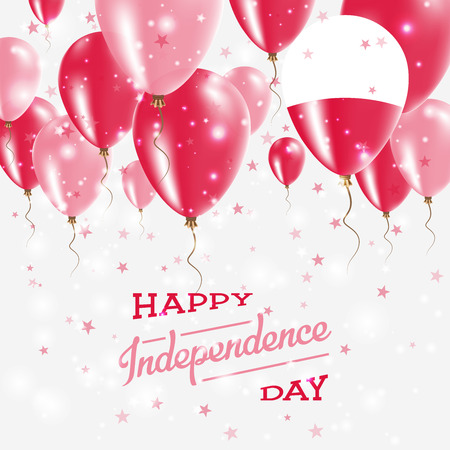Poland Vector Patriotic Poster. Independence Day Placard with Bright Colorful Balloons of Country National Colors. Poland Independence Day Celebration.