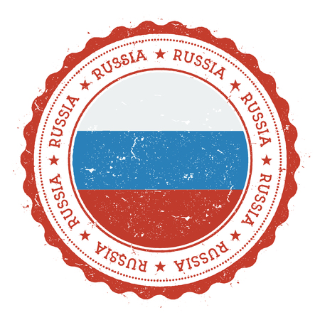 Grunge rubber stamp with Russian Federation flag. Vintage travel stamp with circular text, stars and national flag inside it. Çizim
