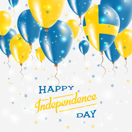 Sweden Vector Patriotic Poster. Independence Day Placard with Bright Colorful Balloons of Country National Colors. Sweden Independence Day Celebration.  イラスト・ベクター素材