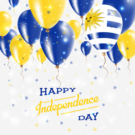 Uruguay vector patriotic poster. Independence Day placard with bright colorful balloons of country national colors. Uruguay Independence Day celebration. Illustration
