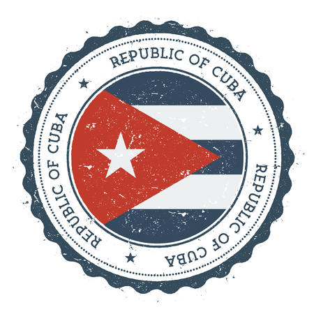 Grunge rubber stamp with Cuba flag. Vintage travel stamp with circular text, stars and national flag inside it. Vector illustration. Vettoriali