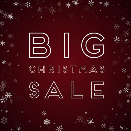 Big Christmas Sale greeting card. Sparse snowfall background. Sparse snowfall on red background. Splendid vector illustration.