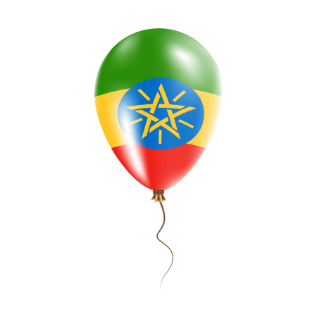 Ethiopia balloon with flag. Bright Air Ballon in the Country National Colors. Country Flag Rubber Balloon. Vector Illustration.