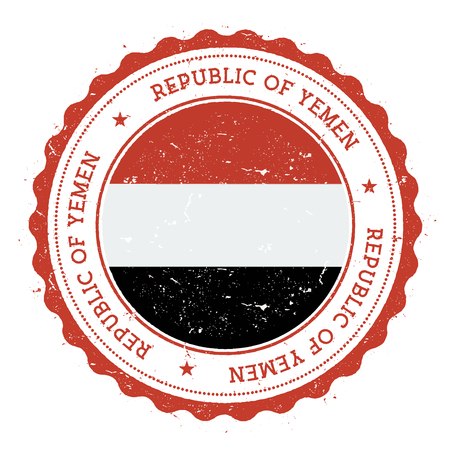 Grunge rubber stamp with Yemen flag. Vintage travel stamp with circular text, stars and national flag inside it. Vector illustration.