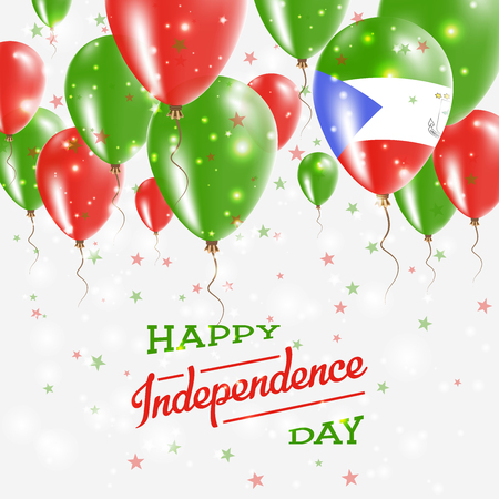 Equatorial Guinea Vector Patriotic Poster. Independence Day Placard with Bright Colorful Balloons of Country National Colors. Equatorial Guinea Independence Day Celebration.