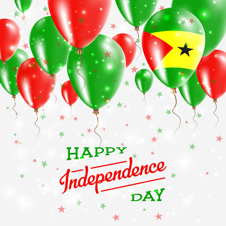 Sao Tome and Principe Vector Patriotic Poster. Independence Day Placard with Bright Colorful Balloons of Country National Colors. Sao Tome and Principe Independence Day Celebration.