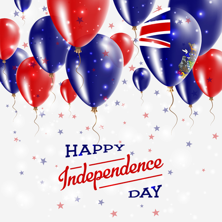 South Georgia and the South Sandwich Islands Vector Patriotic Poster. Independence Day Placard with Bright Colorful Balloons of Country National Colors.