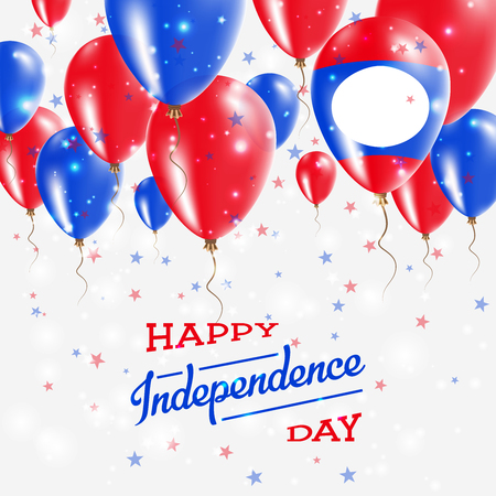 Lao Peoples Democratic Republic Vector Patriotic Poster. Independence Day Placard with Bright Colorful Balloons of Country National Colors.