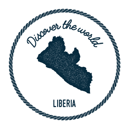 Vintage discover the world rubber stamp with Liberia map. Hipster style nautical postage stamp, with round rope border. Vector illustration.