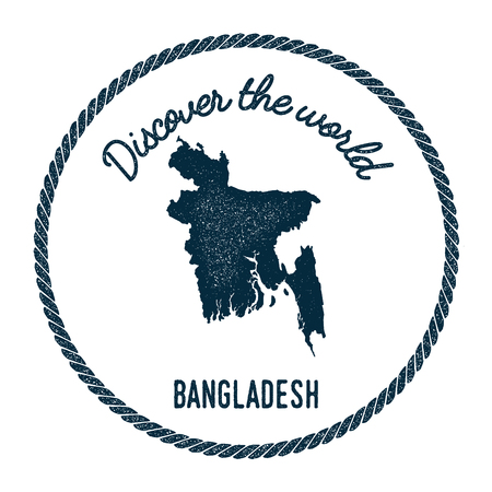 Vintage discover the world rubber stamp with Bangladesh map. Hipster style nautical postage stamp, with round rope border. Vector illustration. Ilustrace