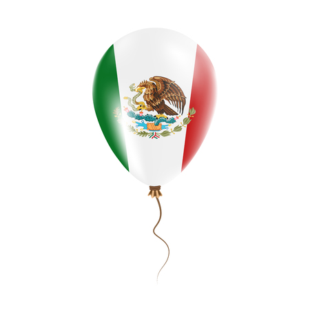 Mexico balloon with flag. Bright Air Balloon in the Country National Colors. Country Flag Rubber Balloon. Vector Illustration.