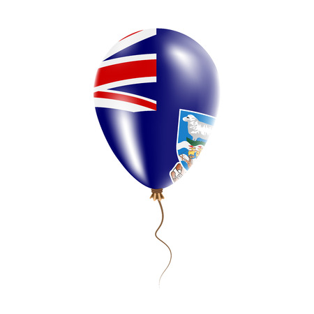 Falkland Islands (Malvinas) balloon with flag. Bright Air Ballon in the Country National Colors. Country Flag Rubber Balloon. Vector Illustration.