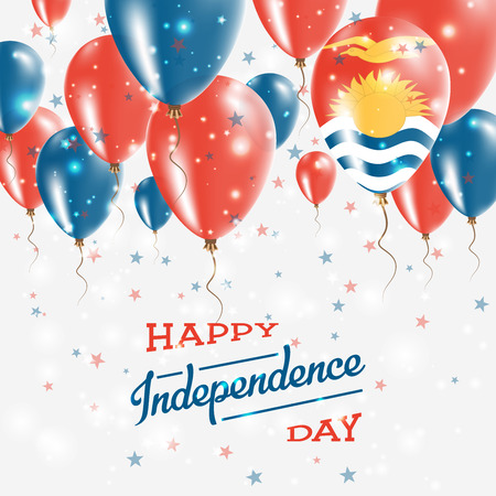 Kiribati Vector Patriotic Poster. Independence Day Placard with Bright Colorful Balloons of Country National Colors. Kiribati Independence Day Celebration.